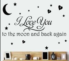 """""""I Love You to the Moon and Back Again"""" Wall Sticker Quote DIY Home Decal"""