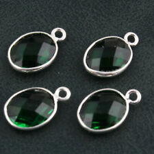 4 Pcs Faceted Green Emerald Quartz Oval Shape Silver Plated Make DIY Connectors