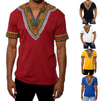 Men Short Sleeve Shirt V-Neck African Dashiki Tribal Festival Casual Top T-shirt