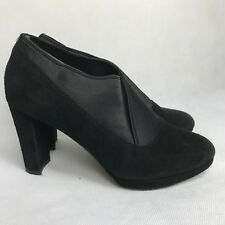 Clarks NARRATIVE Black Suede Work Shoes Elasticated Top Smart Heels Size UK 3.5