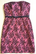 New Alfred Angelo Dress size 10 Coral black lace cocktail party wedding event