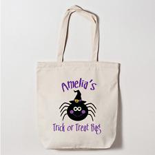 Personalizzata Halloween Dolcetto o Scherzetto Canvas Tote Bag SPIDER Spettrali SWEET BAG