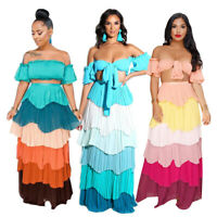 Women Off Shoulder Lace Up Crop Top + Cascading Ruffles Pleated Maxi Skirts Set