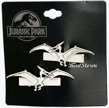 Jurassic Park Movie Pterodactyls Dinosaur Metal Hair Clip 2 Set Silver Tone NWT