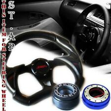 Mustang Jdm 320Mm Battle Steering Wheel Black+Hub Adapter Kit+Quick Release Blue