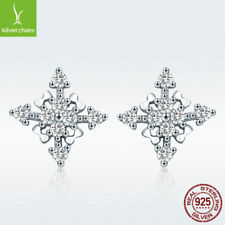 Freshing Style Lady Dating Necessary 925 Sterling Silver Snowflake Stud Earrings