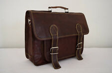 "15x11"" Real Leather Briefcase Satchel Attache Suitcase Messenger Bag Handmade"