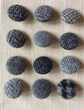 12 x Harris tweed/laine boutons recouverts fait à la main 24 mm Dia Gris
