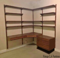 Vintage Mid Century Modern Four Row Corner Oak Wall Unit Two Desks File Cabinet