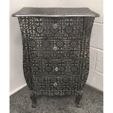 Blackened Silver Metal Embossed 4 Drawer Bedside Cabinet Table Chest Of Drawers