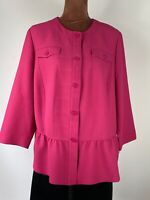 Gerry Weber Elegant Pink Ruffle Hem Boho Blazer Button Up Jacket Size 22