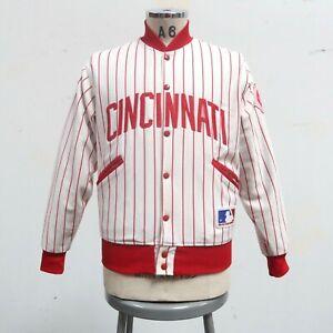 Vintage 90s Cincinnati Reds Pinstripe Jacket Size M Felco Made in USA