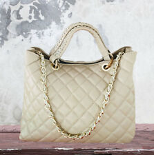 Nude Leather Quilted Chanel Style Tote