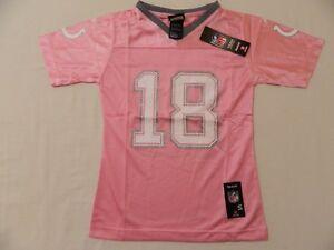 M60 New REEBOK Indianapolis Colts Peyton Manning Pink Glitter Jersey GIRLS Sizes