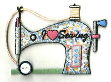 Sewing - Sewing Machine W/Button - Quilting - Crafts - Emboidered Iron On Patch