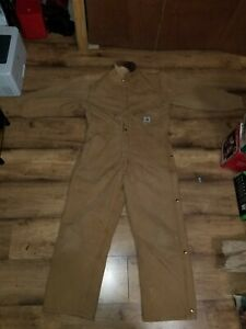 Men's CARHARTT Coveralls Red Quilted Insulated Interior USA Made Size 42 SHORT