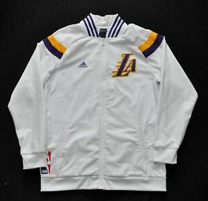 LOS ANGELES LAKERS On Court Warmup Jacket Adidas 14-15 KOBE SHAQ White Men LARGE
