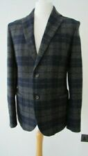 BENETTON MENS BLUE GREY TARTAN WOOL CASUAL JACKET WITH LEATHER PATCH ON SLEEVES