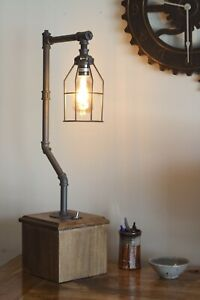 Vintage Edison Industrial Pipe Table/Desk Lamp - USB Charging & LED Bulb