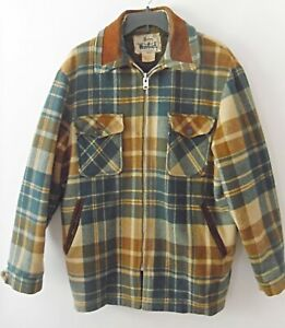 Vintage Woolrich Men's Plaid 100% Wool Flannel Jacket Made in USA Size L