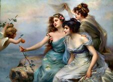 Die drei Grazien 1899 by Edouard Bisson Sexy Girls Old Masters 16x20 On Canvas