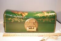 Vintage Chinese Treasure /Pillow Box, with brass lock and key, dark green