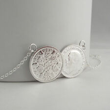 Stunning Solid Silver Double Old Sixpence Pendant Necklace 2 Coin Perfect Gift