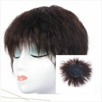 Short Curly Topper Cover 100% Real Human Hair Top Hairpieces Toupee Hair