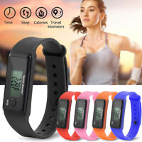 Run Step Watches Bracelet Pedometer Calorie Counter Digital LCD Walking Distance