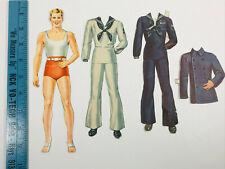 Vintage 40s 50s Paper Doll cut out Sailor Man Seaman w/ Clothes Accessories