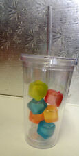 TUMBLER WITH 6 FREEZABLE -REUSABLE ICE CUBES AND STRAW