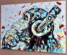 """BANKSY DJ MONKEY GORILLA CHIMP CANVAS PICTURE WALL ART LARGE 20""""x30""""  #A380"""
