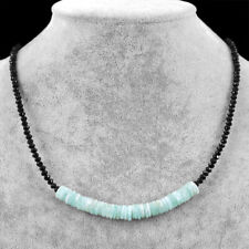 75.00 Cts Natural Amazonite & Black Spinel Round Cut Beads Necklace NK 03E60
