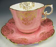 AYNSLEY PINK GOLD GILT TEA CUP & SAUCER TEACUP