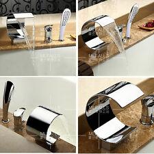 Bathtub Roman Waterfall Faucet Tap Hand Shower Brass Chrome Single Handle Modern