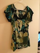 Perception Woman's Top Blue Yellow Black Size L (Tags Removed)