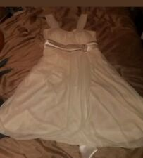 Ivory $69 Hot From Hollywood  Rhinestone Empire Waist Sheer Layer Dress Size L