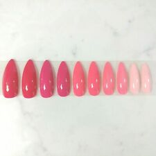 Custom Press on Nails fake nails Handmade 20 long stiletto pink shades glitter
