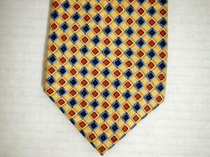 "Jos A Bank Mens Necktie Tie Yellow Orange Blue Geometric 100% Silk 60"" Career"