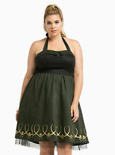 NEW WOMENS PLUS SIZE 26W 4X GREEN MARVEL HER UNIVERSE LOKI DRESS COSPLAY COSTUME