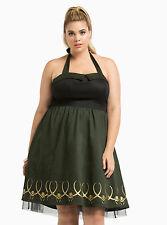 NEW WOMENS PLUS SIZE 30W 5X GREEN MARVEL HER UNIVERSE LOKI DRESS COSPLAY COSTUME