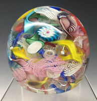 Vintage 20th C. Tutti Frutti Murano Glass Art Paperweight Italy