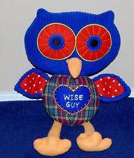 "14"" Blue Corduroy & Plaid WISE GUY Plush Owl ""Owl Love You Forever"" 2012"