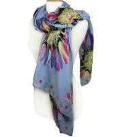 BRAND NEW Silky Lightweight Multi Floral Polka Dots Blue Gray Fashion Scarf