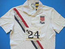 New Ralph Lauren Rugby Off White USA Patch 100% Cotton Polo Shirt SIZE SLIM XS