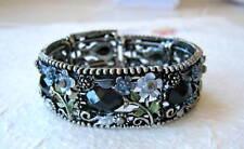 Black Rhinestone Stretch Cuff Bracelet Adjustable Silvertone Acrylic Floral Deco