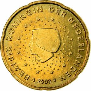 [#722829] Pays-Bas, 20 Euro Cent, 2003, TTB, Laiton, KM:238