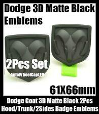 Dodge 2Pc 3D Matte Black Emblem Hood Trunk Head Grill Tailgate 61*66mm Ram Badge