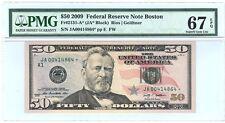 "$50.00, 2009 FED. RES.""STAR NOTE"" - BOSTON, Fr.2131-A*, PMG 67, SUPERB GEM, EPQ"