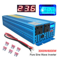 3000W/6000W Pure Sine Wave Power Inverter DC 24V to AC 230V Caravan Converter UK